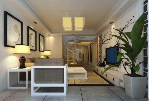 绿墅湾新中式风复式四居室装修图