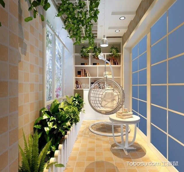 阳台 博古架_水韵花都139平米简约风格三居室装修效果图