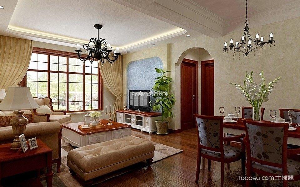 美式田园风格两居室家庭装修效果图