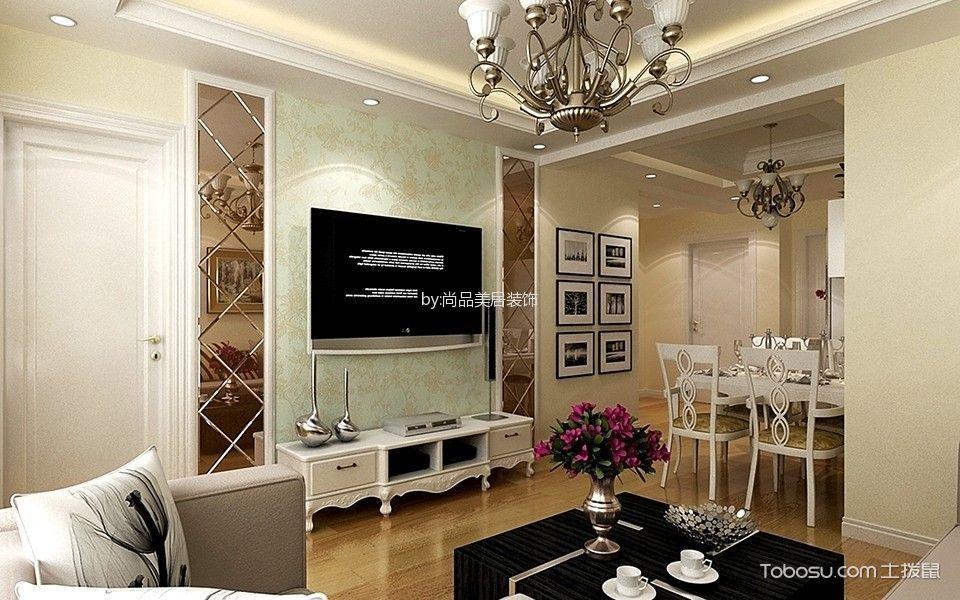 90平米两居室家庭现代欧式装修效果图