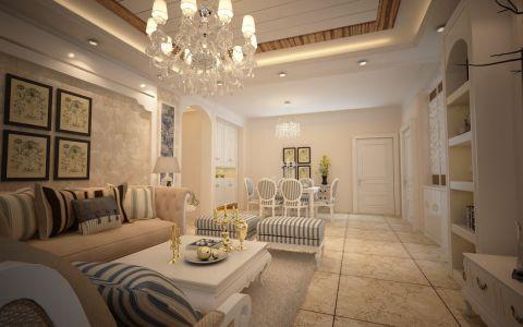 保利叶公馆132平米田园风格三居室设计图