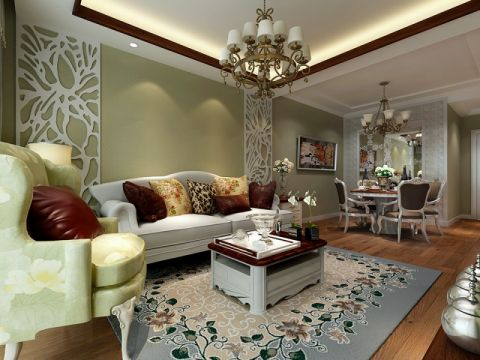 橡树湾115平方户型混搭欧式风格效果图案例