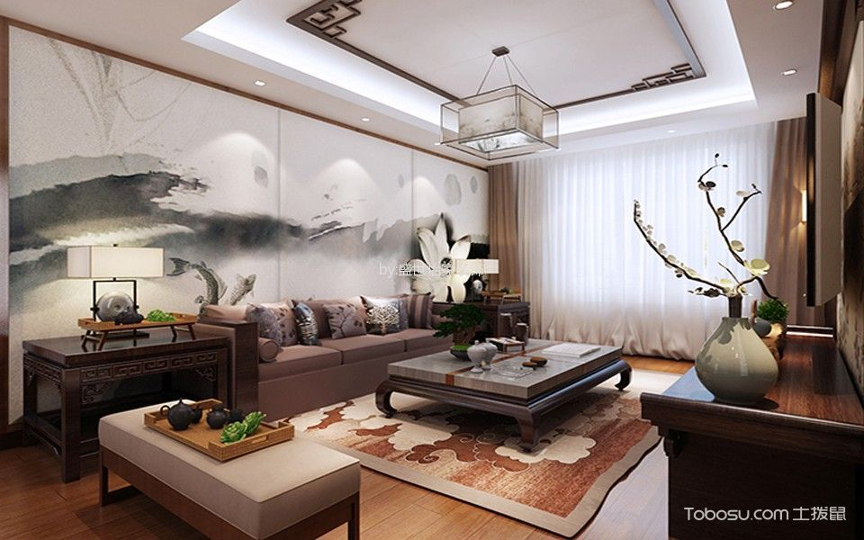 远洋万和城中式风格两居室装修设计