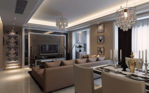 和平盛世现代简欧风格三居室装修设计