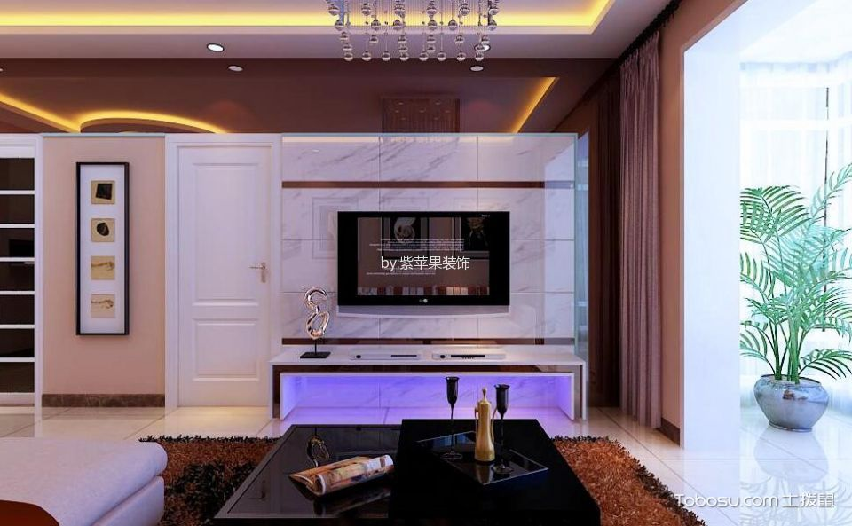 美林湾97平米现代简约风格二居室装修效果图
