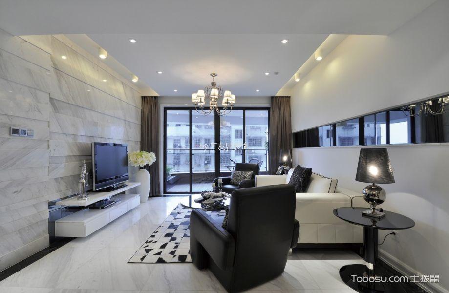 现代风格二居室家庭装修样板间图片