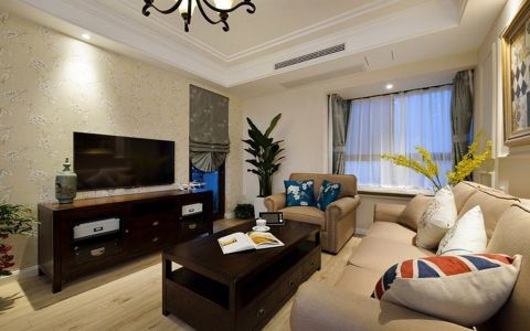 银湖佳苑美式风格三居室装修图片