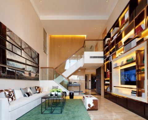 现代简约风格家庭楼房室内装修案例图