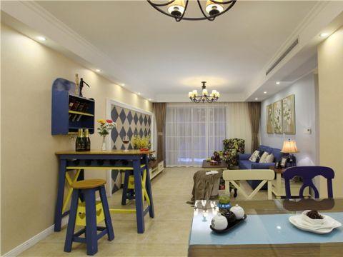 龙湖花千树美式混搭三居室装修效果图