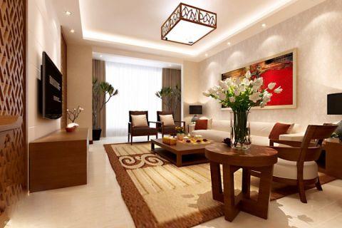 景瑞望府现代中式三居室装修案例图