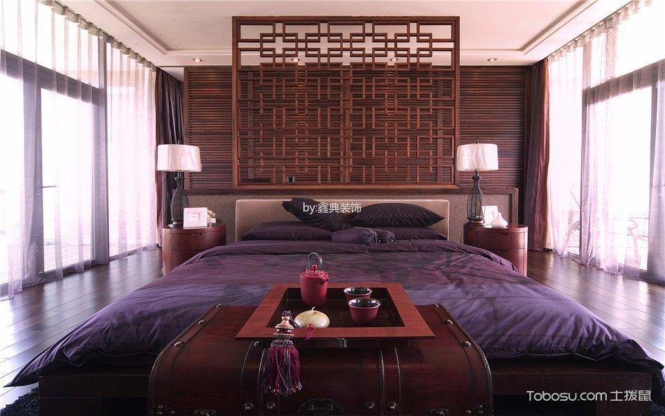 卧室灰色窗帘中式风格装饰设计图片