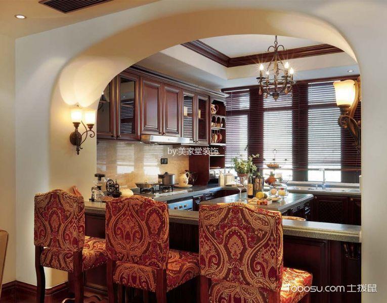 厨房咖啡色吊顶欧式风格装修设计图片