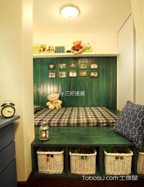 儿童房绿色榻榻米地中海风格装饰效果图