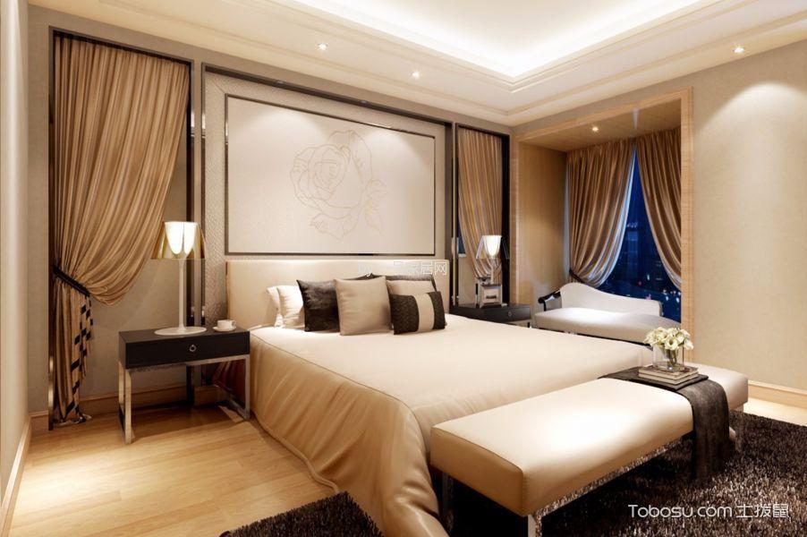 卧室黄色窗帘田园风格装饰设计图片