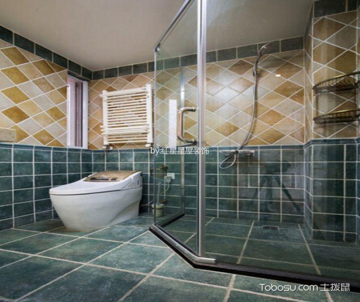 卫生间蓝色地砖混搭风格装潢设计图片