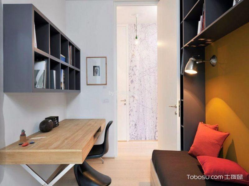 书房咖啡色背景墙东南亚风格效果图