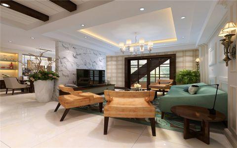 本案例为现代欧式风格,欧式硬装,现代软装。意在控制整体装修的总造价,现代风格的家具软装,极大的减少的客户整体装修成本,欧式的造型又烘托出客户对西方装修放歌的偏爱。 客餐厅以独立的成品吧台为隔断,既供客厅区域借景,又为餐厅区域的提高的可使用空间。过道区域的木质假梁吊顶,为起居区域做了完美过度。