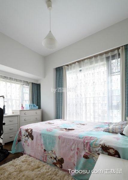 卧室蓝色窗帘中式风格装修效果图