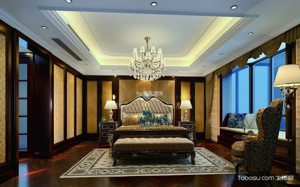 卧室白色灯具新古典风格装修设计图片