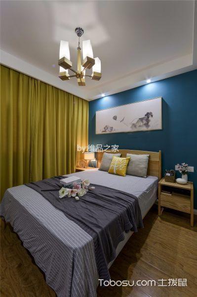卧室黄色窗帘日式风格装修图片