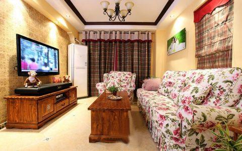 客厅窗帘田园风格装饰图片