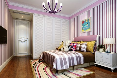 儿童房背景墙现代简约风格装修效果图
