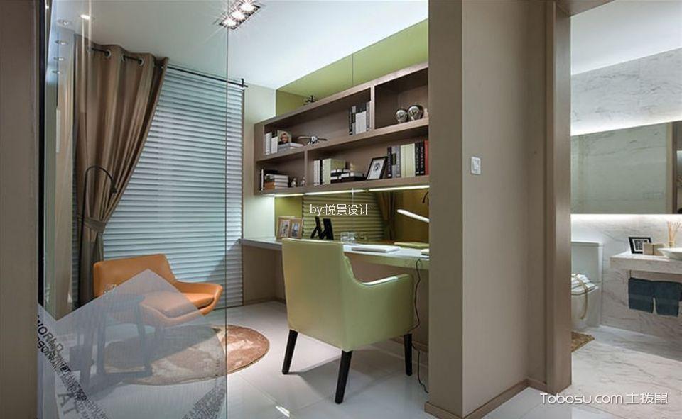 书房咖啡色窗帘美式风格装饰设计图片