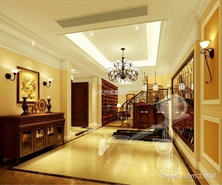 玄关黄色门厅美式风格装饰效果图