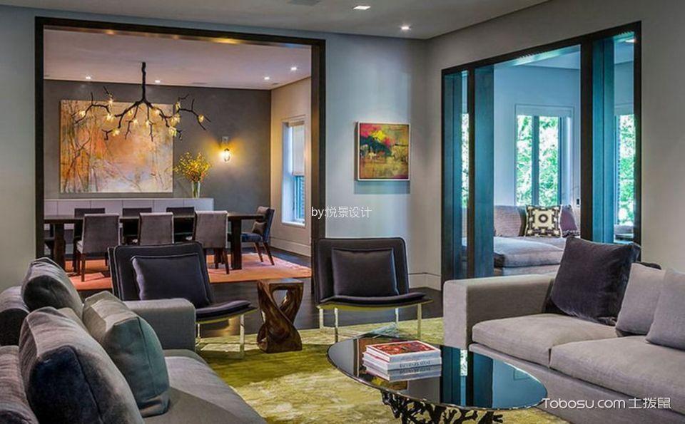 客厅灰色沙发东南亚风格装修设计图片