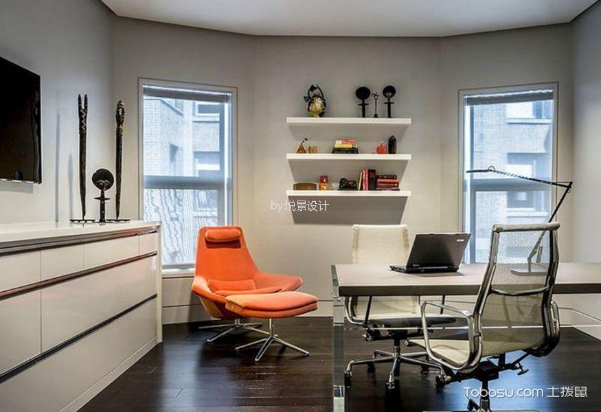 书房白色书桌东南亚风格装潢设计图片