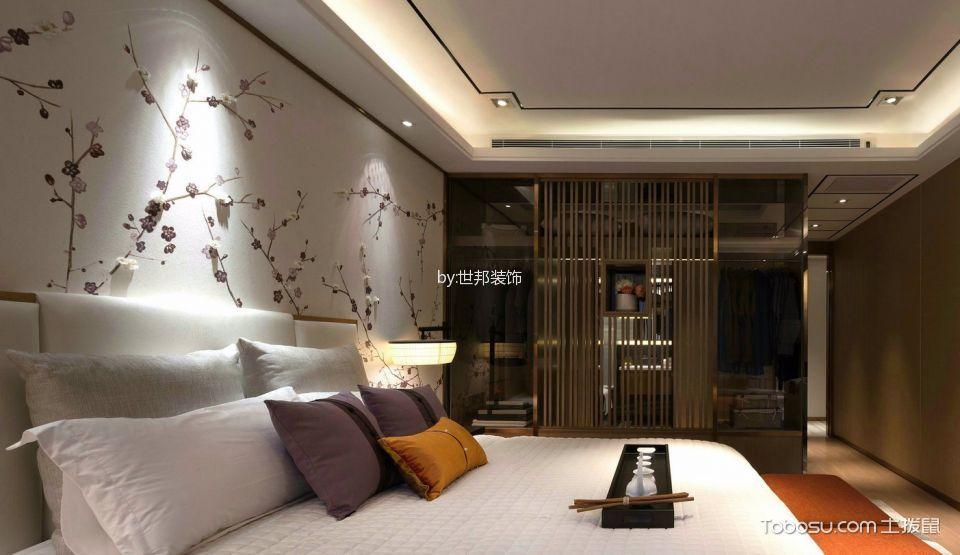 卧室白色吊顶新中式风格装潢效果图