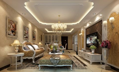 这套三室两厅的装修案例中主要以欧式作为主线,客户对欧式情有独钟,追求一种欧式风格的浪漫,优雅气质和生活的品质感。所以设计师在造型,配色,配饰与家具的选择中都极为细致。