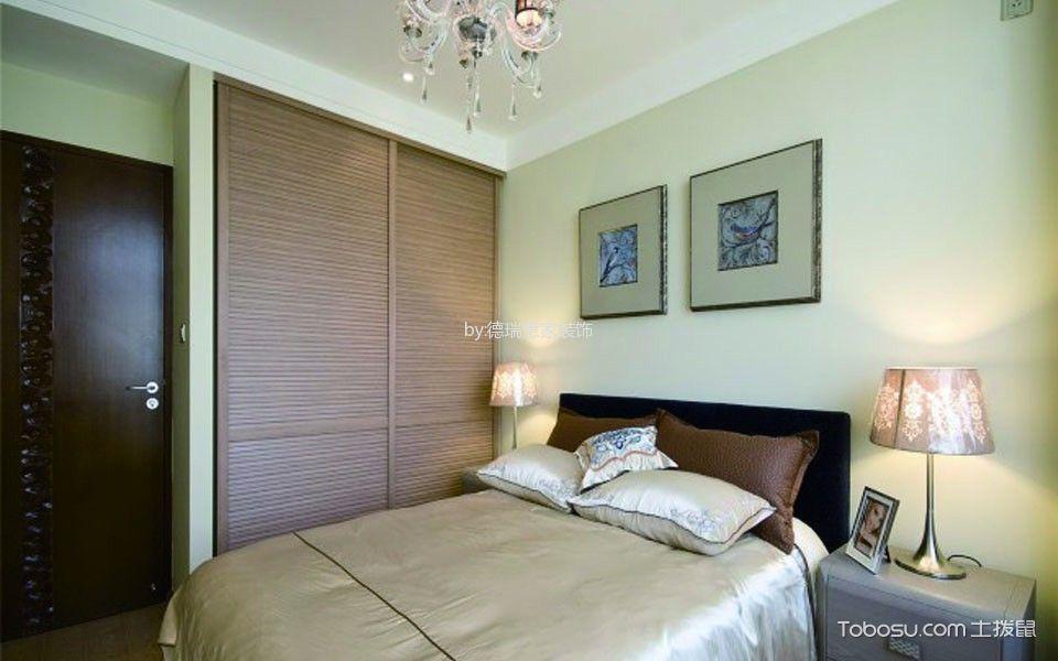 卧室咖啡色衣柜新中式风格装修图片