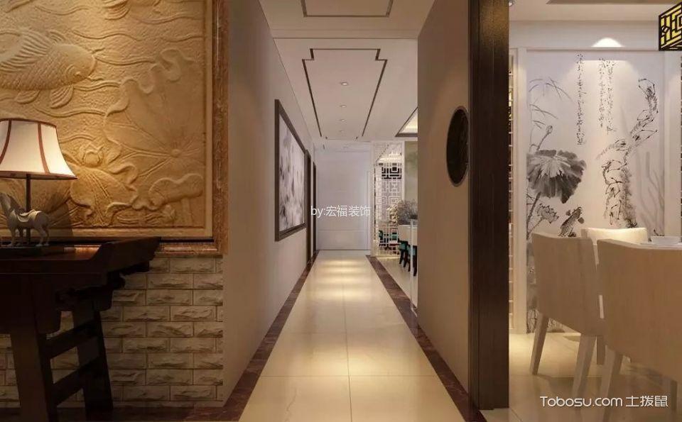 玄关黄色地砖新中式风格装饰效果图