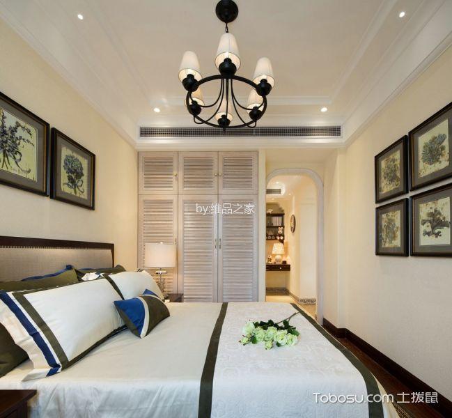 卧室黄色照片墙美式风格装潢设计图片