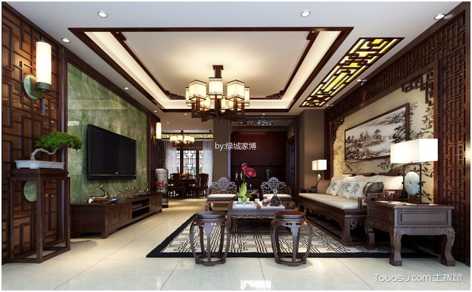 2020中式古典120平米装修效果图片 2020中式古典套房设计图片