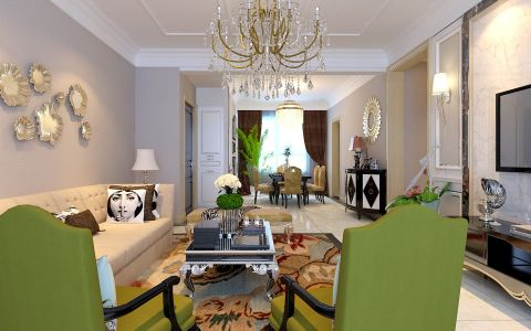 橡树湾时尚简欧三居室装修效果图