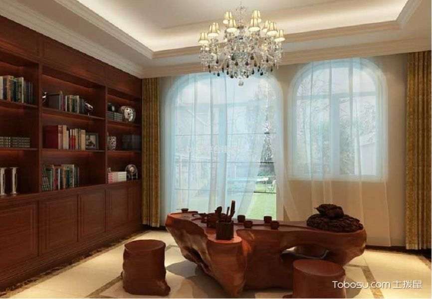 书房黄色窗帘欧式风格装饰效果图