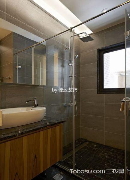 卫生间咖啡色洗漱台北欧风格装潢设计图片