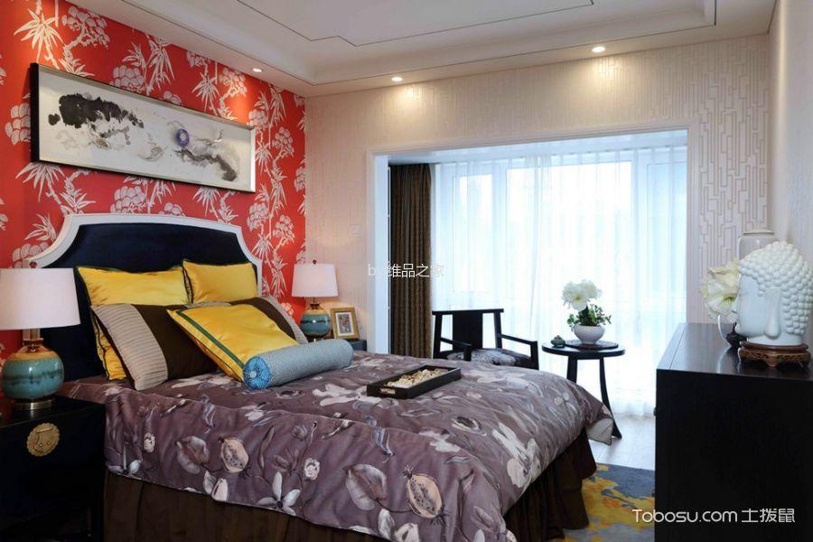 卧室咖啡色窗帘新中式风格装修图片