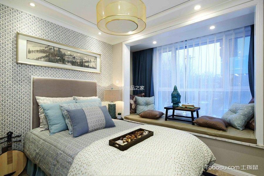 卧室蓝色窗帘新中式风格装潢设计图片