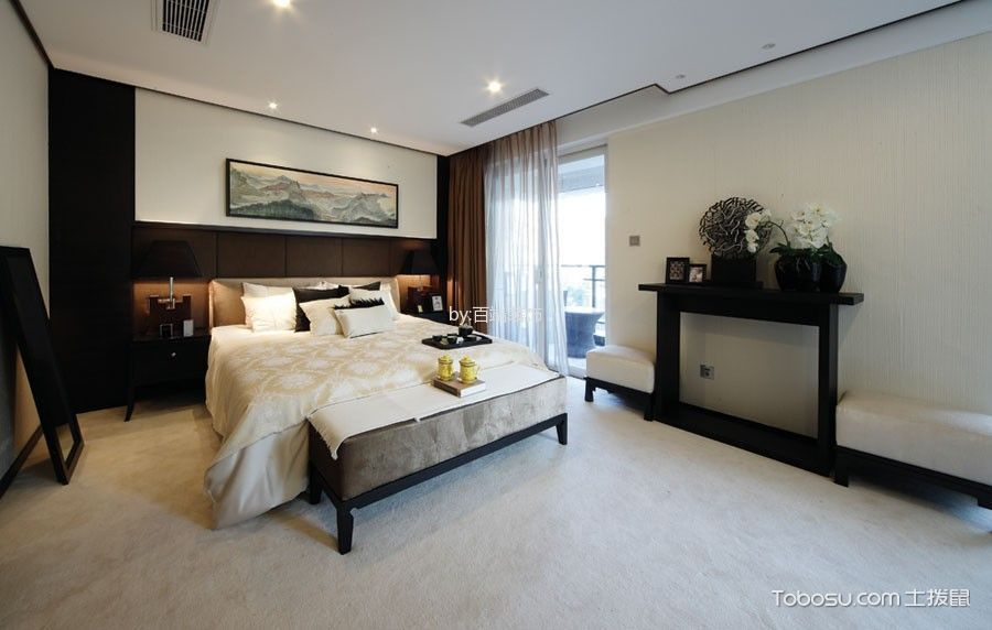 卧室咖啡色窗帘中式风格装修图片