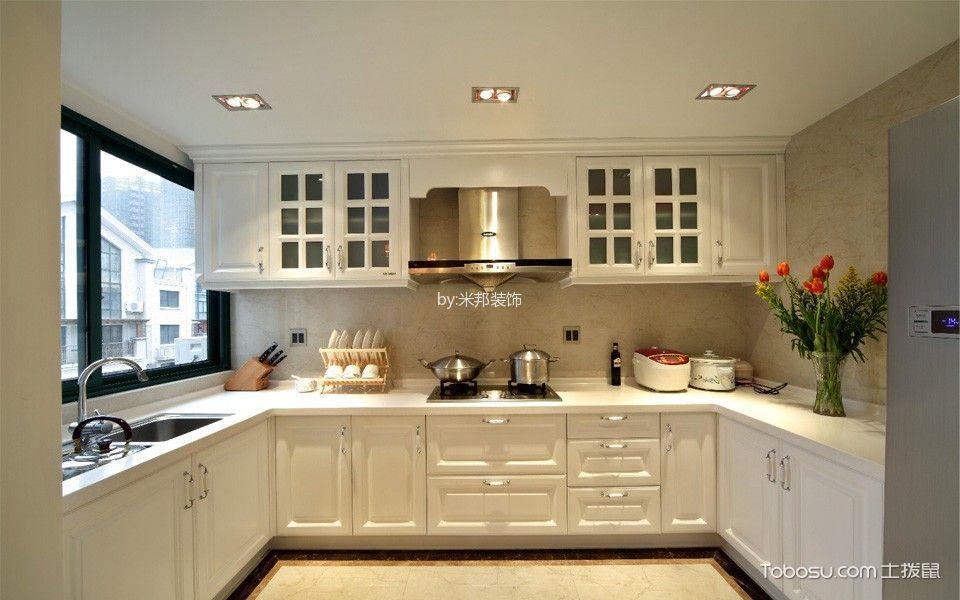 厨房白色隔断美式风格装饰图片