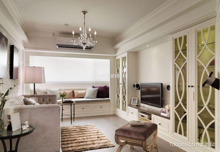 客厅白色电视柜混搭风格装修设计图片