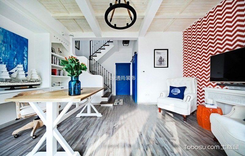 简约地中海蓝色背景墙装潢图片