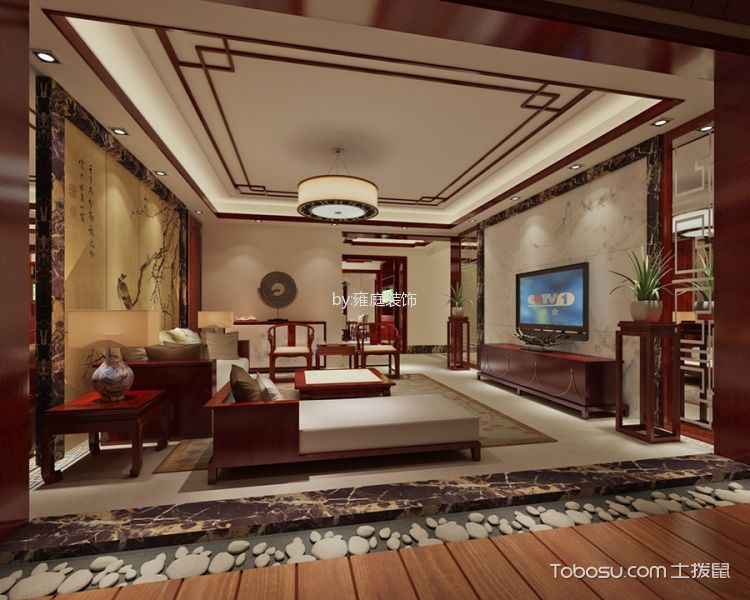 天御香山花园180平方大户型中式装修设计