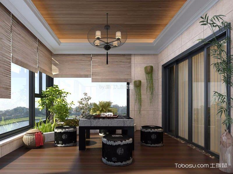 阳台黄色吊顶混搭风格装修效果图