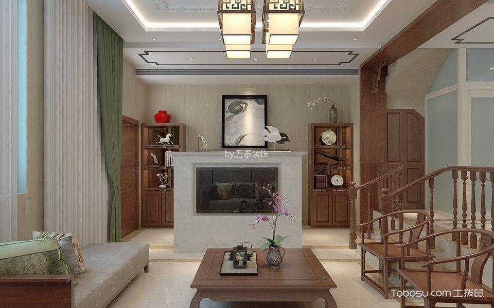 客厅绿色窗帘新中式风格装修设计图片