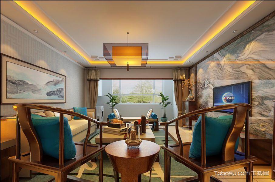 客厅咖啡色窗帘新中式风格装潢效果图