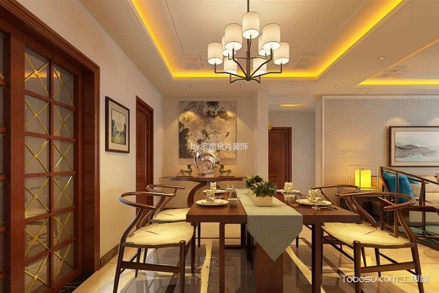餐厅白色灯具新中式风格装修设计图片